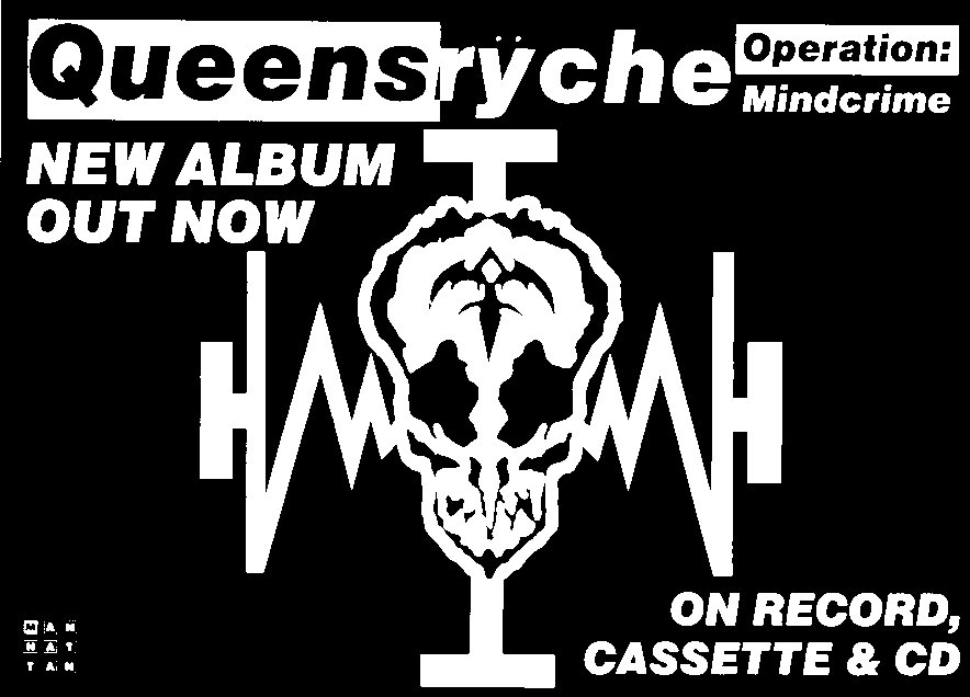 Queensryche Operation Mindcrime 2 Black and white advert for