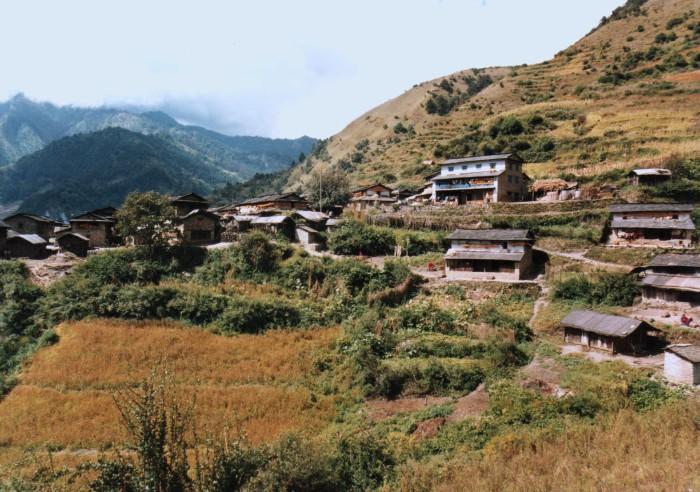 Gurja Gaun with Aadakshya's house at top of village